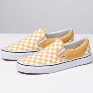Vans yellow/white checkered new 8.5 men 10 women